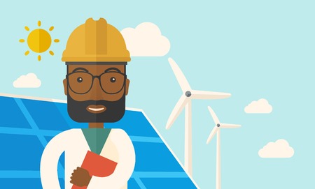 A black man wearing hardhat smiling under the heat of the sun with solar panels and windmills. A Contemporary style with pastel palette, soft blue tinted background with desaturated clouds. Vector flat design illustration. Horizontal layout.