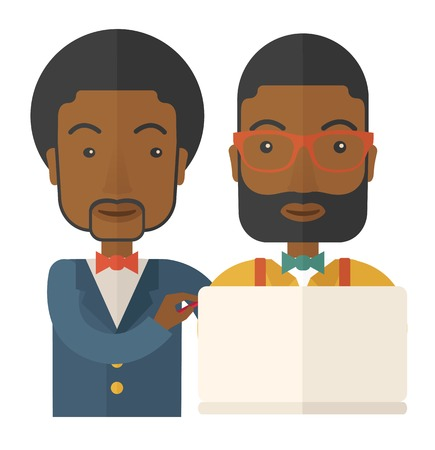 A two black workers using laptop. A Contemporary style. Vector flat design illustration isolated white background. Square layout. Illustration