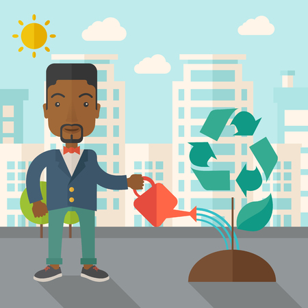 desaturated: A black man watering the green recycle tree to improve the ecology under the sun. A Contemporary style with pastel palette, soft blue tinted background with desaturated clouds. Vector flat design illustration. Square layout.