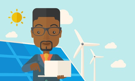 An african man with laptop using the solar panel under the sun as power electricity. A Contemporary style with pastel palette, soft blue tinted background with desaturated clouds. Vector flat design illustration. Horizontal layout with text space on upper Ilustrace