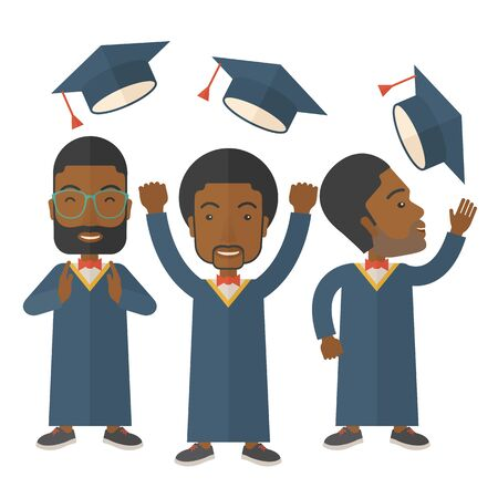 commencement: A smiling three men throwing graduation cap in the air. A Contemporary style. Vector flat design illustration isolated white background. Square layout Illustration