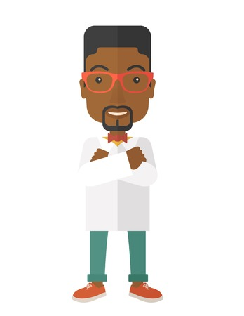 intern: A Young handsome african male medicine doctor assistant standing in white lab coat with cross arms. A Contemporary style. Vector flat design illustration isolated white background. Vertical layout Illustration