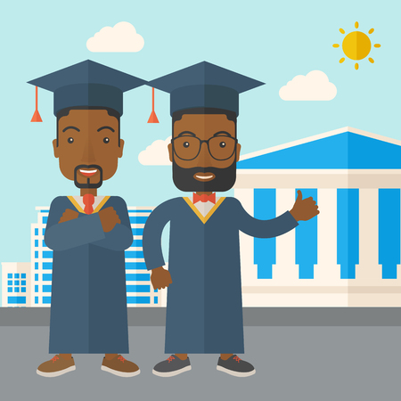 succeeding: A happy two black young men wearing a toga and graduation cap standing under the sun. A Contemporary style with pastel palette, soft blue tinted background with desaturated clouds. Vector flat design illustration. Square layout. Illustration