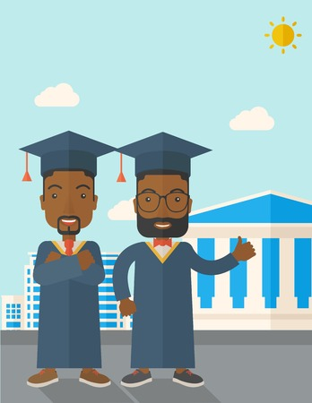 succeeding: A happy two black young men wearing a toga and graduation cap standing under the sun. A Contemporary style with pastel palette, soft blue tinted background with desaturated clouds. Vector flat design illustration. Vertical layout with text space on top pa Illustration