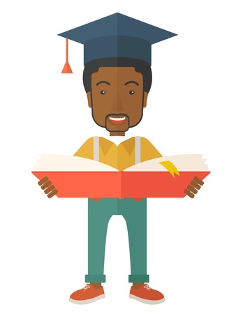 A black man standing and reading  a book, wearing graduation cap, representing to be graduated in studying or finished school or university. A Contemporary style. Vector flat design illustration isolated white background. Vertical layout