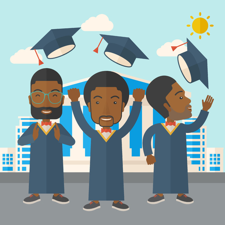 three men: A smiling three men throwing graduation cap in the air. A Contemporary style with pastel palette, soft blue tinted background with desaturated clouds. Vector flat design illustration. Square layout.