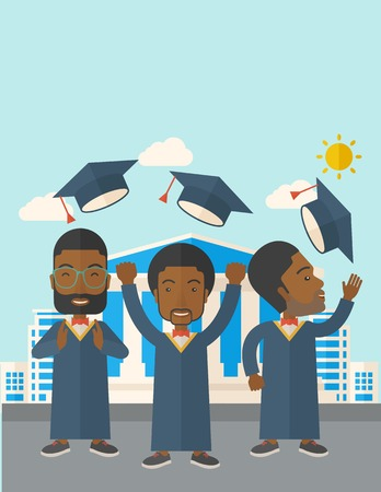 three men: A smiling three men throwing graduation cap in the air. A Contemporary style with pastel palette, soft blue tinted background with desaturated clouds. Vector flat design illustration. Vertical layout with text space on top part.