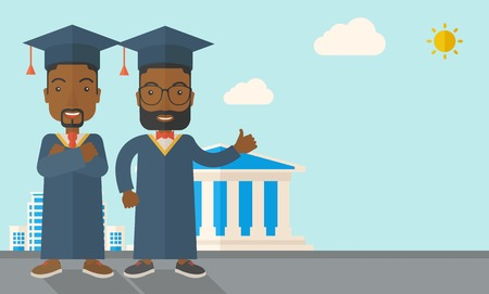 succeeding: A happy two black young men wearing a toga and graduation cap standing under the sun. A Contemporary style with pastel palette, soft blue tinted background with desaturated clouds. Vector flat design illustration. Horizontal layout with text space in lowe