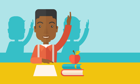 school class: A young black student raising his hand with a smile. A Contemporary style with pastel palette, soft green tinted background. Vector flat design illustration. Horizontal layout with text space in right side.