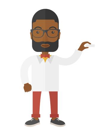 medical assistant: M�dico profesional apuesto joven ayudante m�dico de pie en bata de laboratorio blanco. Un estilo contempor�neo. Aislado Vector dise�o plano ilustraci�n de fondo blanco. Dise�o vertical