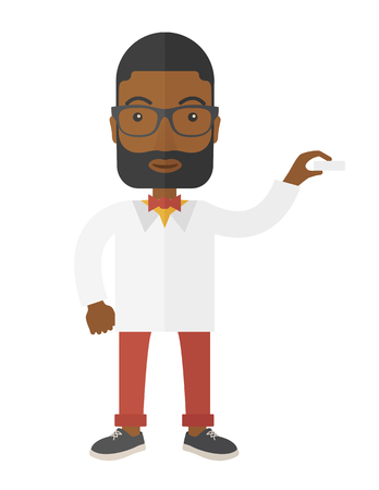 black male: Medical professional handsome young doctor assistant standing in white lab coat. A Contemporary style. Vector flat design illustration isolated white background. Vertical layout