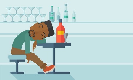 nightclub bar: An african drunk man sitting fall asleep on the table with a bottle of beer inside the pub. Over drink concept. A contemporary style with pastel palette soft blue tinted background. Vector flat design illustration. Horizontal, layout with text space in ri Illustration