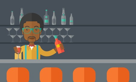 A young black bartender preparing a mixed drinks at a bar, several bottles of alcohol and wine glass behind him. A contemporary style with pastel palette black tinted background. Vector flat design illustration. Horizontal layout with text space in right  Illustration