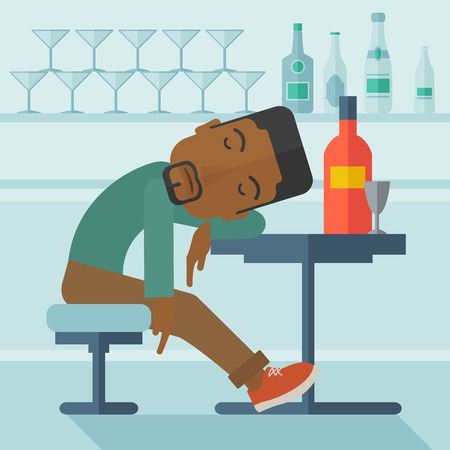 drunk party: An african drunk man sitting fall asleep on the table with a bottle of beer inside the pub. Over drink concept. A contemporary style with pastel palette soft blue tinted background. Vector flat design illustration. Square layout Illustration
