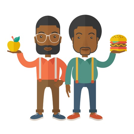 african american couple: A two black businessmen standing and comparing Apple to hamburger of which is healthy food. A Contemporary style with pastel palette, soft beige tinted background. Vector flat design illustration. Square layout.