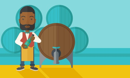 inspecting: An african wine maker standing wearing his apron holding a bottle of wine inspecting from barrel inside the wine storage room. A contemporary style with pastel palette dark blue tinted background. Vector flat design illustration. Horizontal layout with te