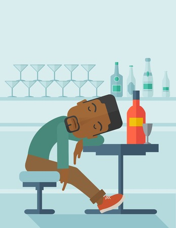 drunk party: An african drunk man sitting fall asleep on the table with a bottle of beer inside the pub. Over drink concept. A contemporary style with pastel palette soft blue tinted background. Vector flat design illustration. Vertical layout with text space on top p