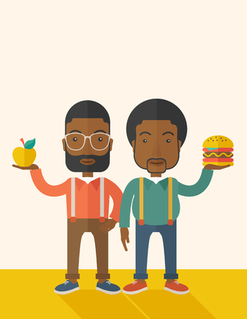 african american couple: A two black businessmen standing and comparing Apple to hamburger of which is healthy food. A Contemporary style with pastel palette, soft beige tinted background. Vector flat design illustration. Vertical layout with text space on top part. Illustration