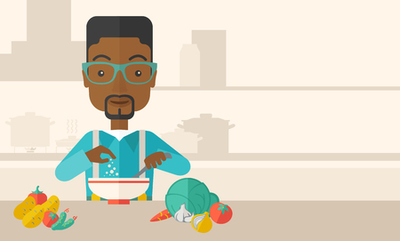 A Young black guy is happy eating salad for lunch with some vegetables on the table. A Contemporary style with pastel palette, soft beige tinted background. Vector flat design illustration. Horizontal layout with text space in right side. Ilustracja