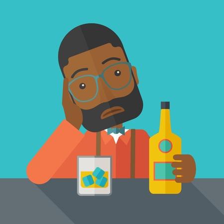 tomando alcohol: Un hombre triste africano está teniendo un problema bebiendo cerveza en el bar. Concepto deprimido. Un estilo contemporáneo con la paleta de colores pastel fondo pintado de azul oscuro. Vector diseño plano ilustración. Diseño Square.