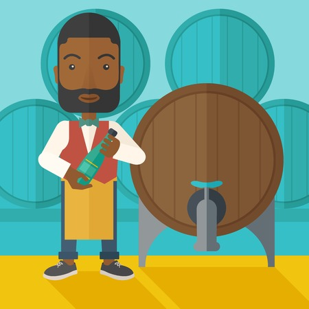 An african wine maker standing wearing his apron holding a bottle of wine inspecting from barrel inside the wine storage room. A contemporary style with pastel palette dark blue tinted background. Vector flat design illustration. Square layout.