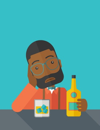 problem: An african sad man is having a problem drinking beer in the bar. Depressed concept. A contemporary style with pastel palette dark blue tinted background. Vector flat design illustration. Square layout.