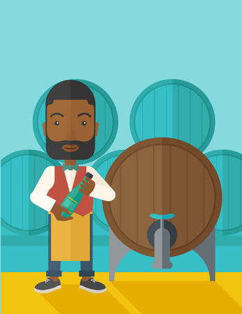 inspecting: An african wine maker standing wearing his apron holding a bottle of wine inspecting from barrel inside the wine storage room. A contemporary style with pastel palette dark blue tinted background. Vector flat design illustration. vertical layout with text