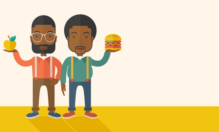 tinted: A two black businessmen standing and comparing Apple to hamburger of which is healthy food. A Contemporary style with pastel palette, soft beige tinted background. Vector flat design illustration. Horizontal layout with text space in right side. Illustration