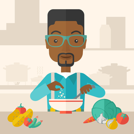 tinted: A Young black guy is happy eating salad for lunch with some vegetables on the table. A Contemporary style with pastel palette, soft beige tinted background. Vector flat design illustration. Square layout.
