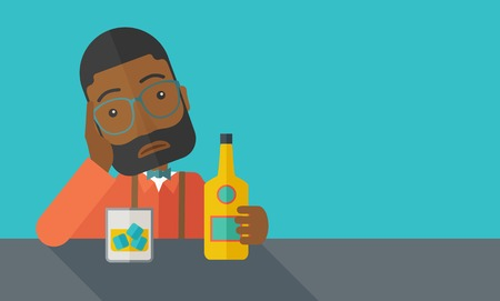drinking problem: An african sad man is having a problem drinking beer in the bar. Depressed concept. A contemporary style with pastel palette dark blue tinted background. Vector flat design illustration. Square layout.