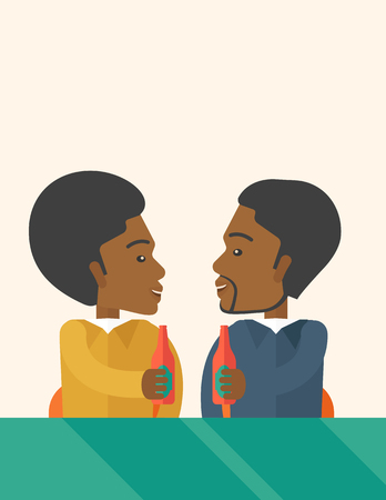 tinted: A two black co-workers from office to pub having fun drinking beer just to relax and stress free. A Contemporary style with pastel palette, soft beige tinted background. Vector flat design illustration. Vertical layout with text space on top part.