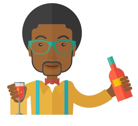 bartending: A young black bartender preparing a mixed drinks. A Contemporary style. Vector flat design illustration isolated white background. Square layout