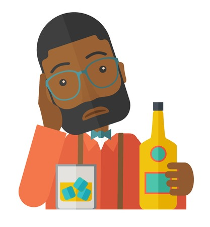 drinking problem: An african sad man is having a problem drinking beer in the bar. Depressed concept. A Contemporary style. Vector flat design illustration isolated white background. Square layout. Illustration