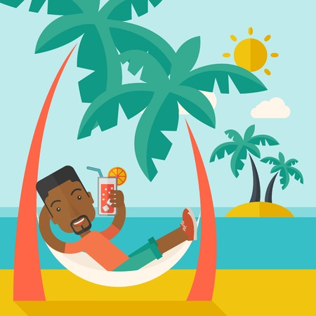 A young black guy on the beach relaxing and drinking cocktail under the heat of the sun with two coconut tree. A contemporary style with pastel palette blue tinted background with desaturated clouds. Vector flat design illustration. Square layout. Stock Illustratie