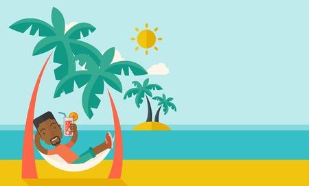휴식과 두 코코넛 나무와 태양의 열에서 칵테일을 마시는 해변에 젊은 흑인 남자. 흐릿한 구름 파스텔 팔레트 푸른 색을 칠한 배경으로 현대적인 스타