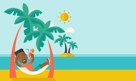 férias: Um jovem negro na praia relaxante e beber cocktail sob o calor do sol com dois coqueiro. Um estilo contemporâneo, com paleta pastel fundo azul matizado com nuvens desaturated. Vector design plano ilustração. Layout horizontal com