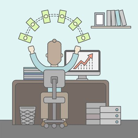 earned: A successful businessman at the office with computer on his table raising his hands. Success concept. Vector flat design Illustration.