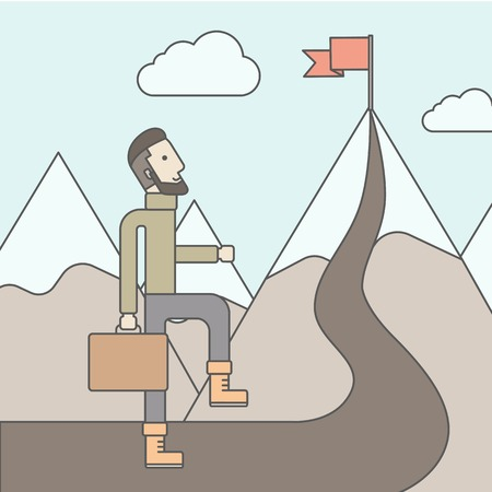 attain: The man with a beard carrying a suitecase climbing a mountain to attain success. Success concept. Vector flat design Illustration.