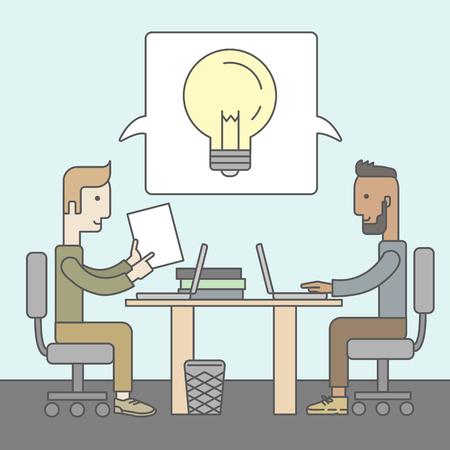 Deux hommes d'affaires avec des barbes discuter des idées à la table. Brainstorming concept. Vector design plat Illustration. Banque d'images - 41679458