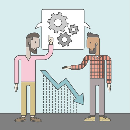 strategist: Two businessmen with beards working and planning things together. Business idea concept. Vector flat design Illustration.