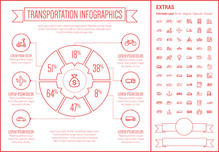 Transportation infographic template and elements. The template includes the following set of icons - bus, helicopter, taxi, vessel, towing truck, van, hot air balloon  and more. Modern minimalistic flat thin line vector design. Beige background with red l