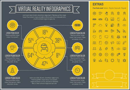 Virtual Reality infographic template and elements. The template includes the following set of icons - Virtual reality headset, gaming, robotic hand, global, smartphone and more. Modern minimalistic flat thin line vector design. Yellow background with blac