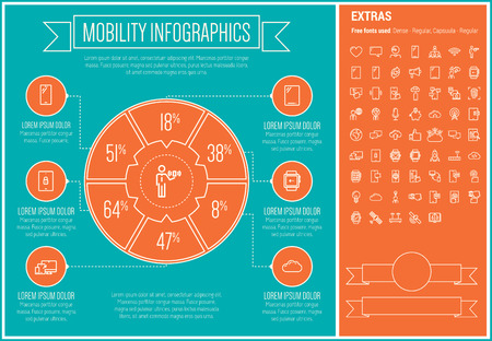 thin bulb: Mobility infographic template and elements. The template includes the following set of icons - wifi, microphone, SMS, browsing, heart, bulb, satellite and more. Modern minimalistic flat thin line vector design. Blue and orange background with white line e