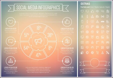 users video: Social Media infographic template and elements. The template includes the following set of icons - television, filmstrip, gear, megaphone, social network, downloading and more. Modern minimalistic flat thin line vector design. Gradient mesh background wit Illustration