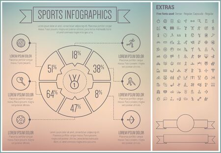 skating on thin ice: Sports infographic template and elements. The template includes the following set of icons - ice skating, high jump, gymnastic, shuttlecock, badminton, tennis ball and more. Modern minimalistic flat thin line vector design. Grey background with grey line  Illustration