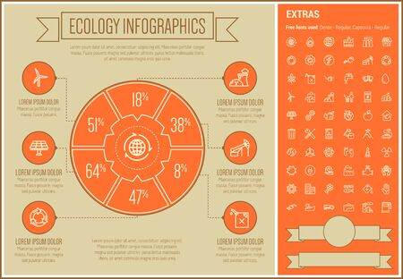 oil pipe: Ecology infographic template and elements. The template includes the following set of icons - oil pipe, E-station, electrical plug, lamp, solar panel, growing graph, gas pump and more. Modern minimalistic flat thin line vector design. Orange background wi