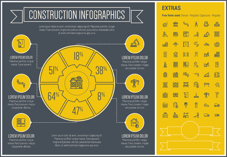 site: Construction infographic template and elements. The template includes the following set of icons - hardhat, worker, wheelborrow with soil, cement carrier and more. Modern minimalistic flat thin line vector design. Yellow background with black line element
