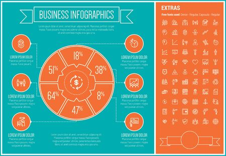 whit: Business infographic template and elements. The template includes the following set of icons - presentation, graph, arrow, handshake, calendar, heart, meeting and more. Modern minimalistic flat thin line vector design. Blue and orange background with whit