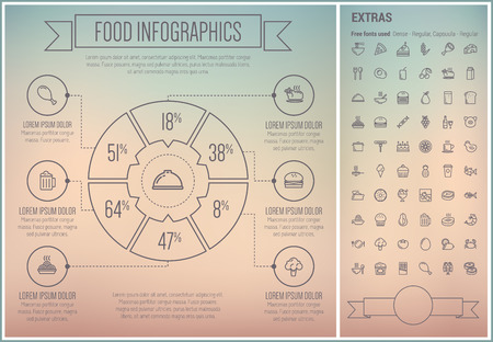 Food infographic template and elements. The template includes the following set of icons - slice pizza, cupcake, cake, sandwich, chicken, cheese, chicken, pork, beef and more. Modern minimalistic flat thin line vector design. Grey background with grey lin Illustration