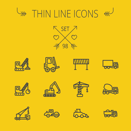 Construction thin line icon set for web and mobile. Set includes- forklift, road roller, cranes, dump truck, road barrier, delivery truck, mixer. Modern minimalistic flat design. Vector dark grey icon on yellow background